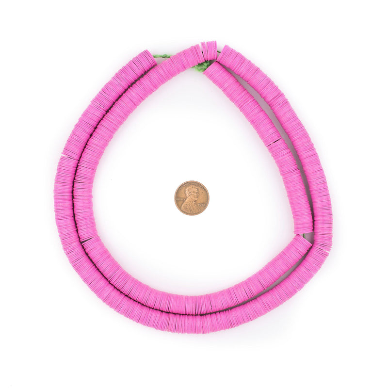 Pink Vinyl Phono Record Beads (10mm) - The Bead Chest