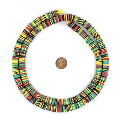 Image of Rasta Medley Vinyl Phono Record Beads (10mm) - The Bead Chest