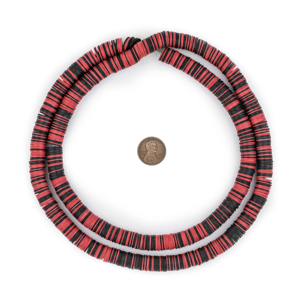 Red & Black Vinyl Phono Record Beads (10mm) - The Bead Chest
