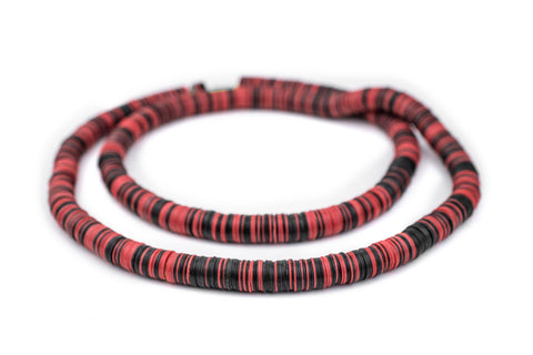 Image of Red & Black Vinyl Phono Record Beads (10mm) - The Bead Chest