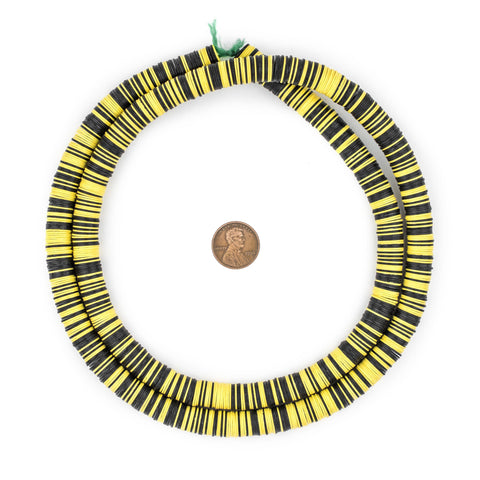 Image of Bumblebee Medley Vinyl Phono Record Beads (10mm) - The Bead Chest