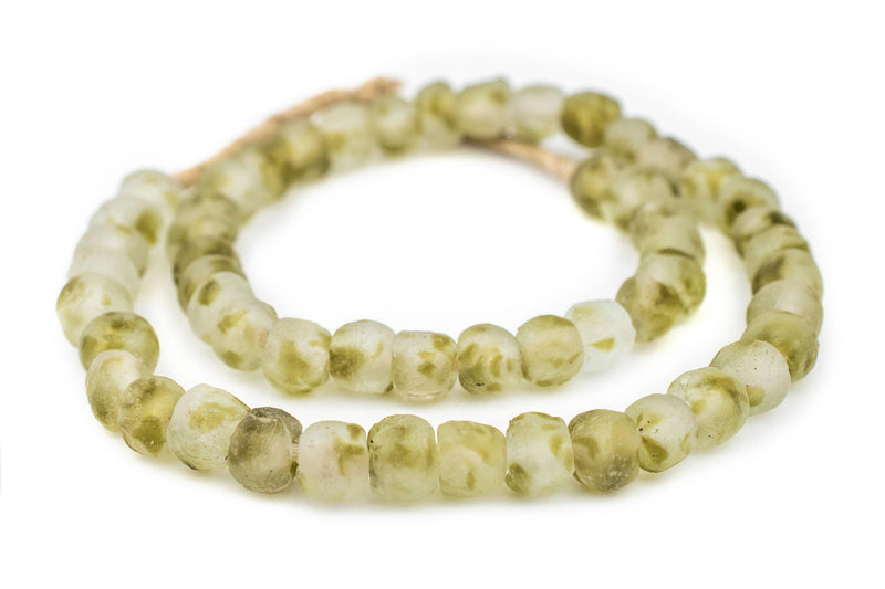 Olive Swirl Recycled Glass Beads (11mm) - The Bead Chest
