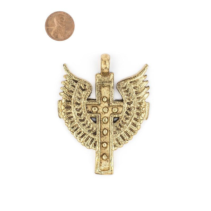 Angel Wings Ethiopian Brass Cross Pendant (80x60mm) - The Bead Chest