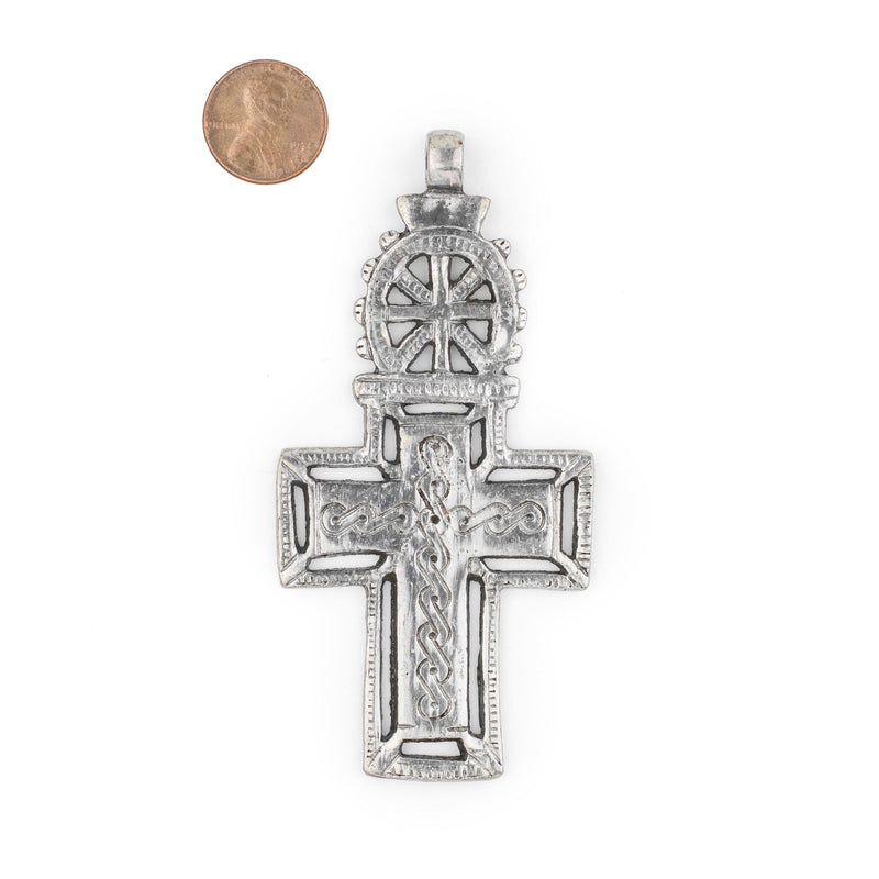 Bahir Dar Ethiopian Silver Cross Pendant (100x50mm) - The Bead Chest