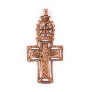 Bahir Dar Ethiopian Copper Cross Pendant (100x50mm) - The Bead Chest