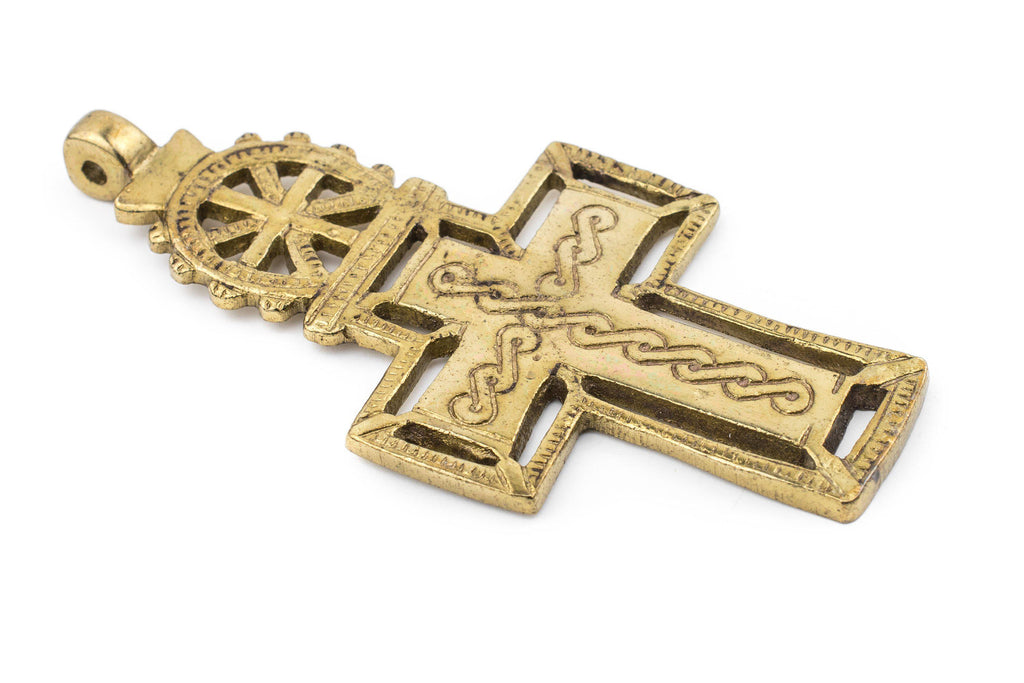 Bahir Dar Ethiopian Brass Cross Pendant (100x50mm) - The Bead Chest
