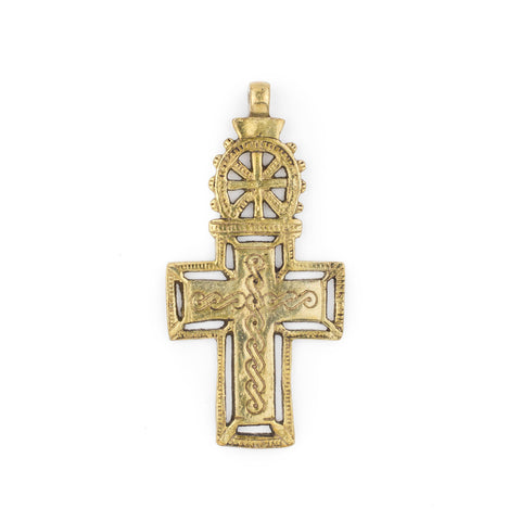 Image of Bahir Dar Ethiopian Brass Cross Pendant (100x50mm) - The Bead Chest