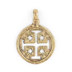 Jerusalem Ethiopian Brass Cross Pendant (70x50mm) - The Bead Chest