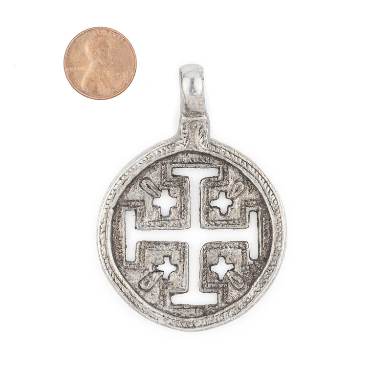 Jerusalem Ethiopian Silver Cross Pendant (70x50mm) - The Bead Chest