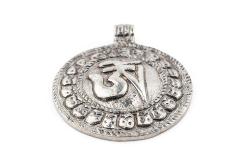 Silver Circular Om Pendant (52x43mm) - The Bead Chest