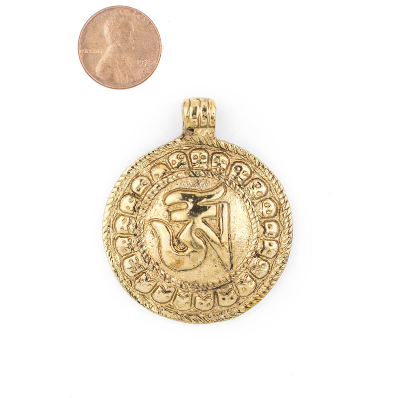 Brass Circular Om Pendant (52x43mm) - The Bead Chest