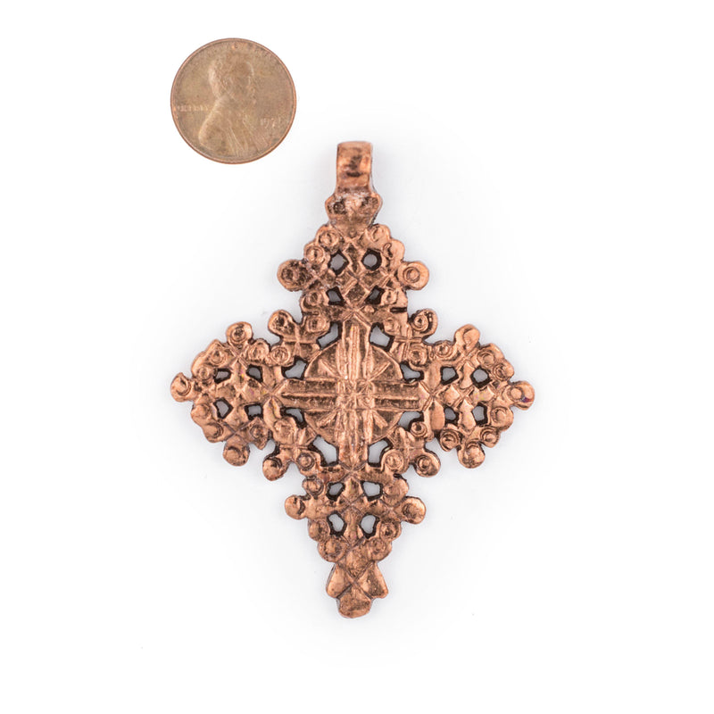 Dire Dawa Ethiopian Copper Cross Pendant (75x55mm) - The Bead Chest