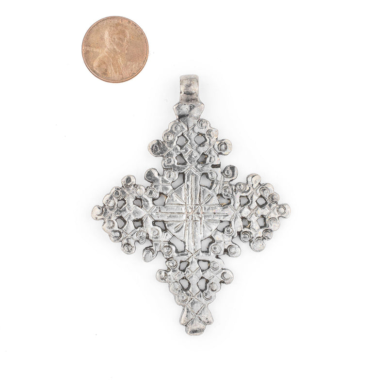 Dire Dawa Ethiopian Silver Cross Pendant (75x55mm) - The Bead Chest