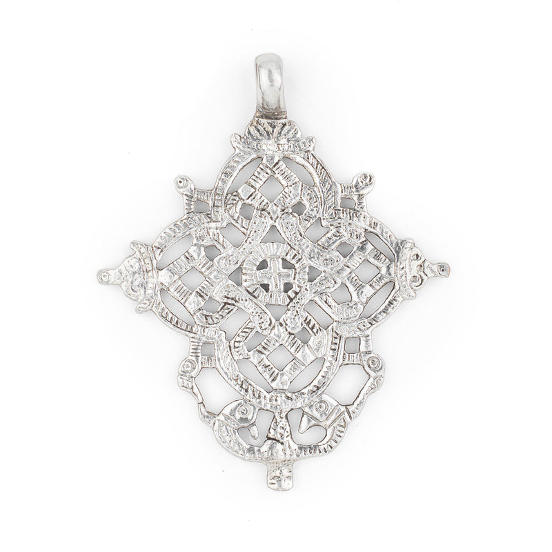 Dessie Ethiopian Silver Cross Pendant (85x70mm) - The Bead Chest
