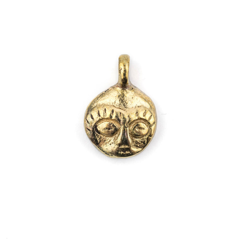 African Brass Mask Charm Pendant (19x14mm) - The Bead Chest