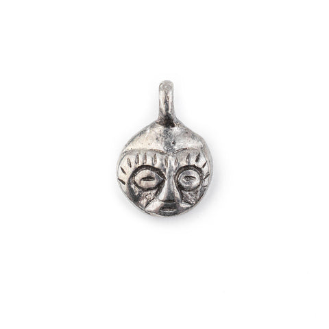 African Silver Mask Charm Pendant (19x14mm) - The Bead Chest