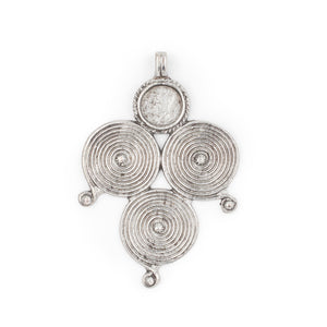 Silver Berber Spiral Pendant (90x60mm) - The Bead Chest