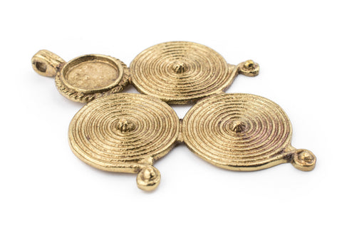 Brass Berber Spiral Pendant (90x60mm) - The Bead Chest