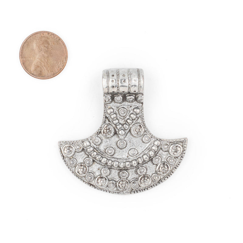 Silver Patterned Shield Pendant (50x50mm) - The Bead Chest