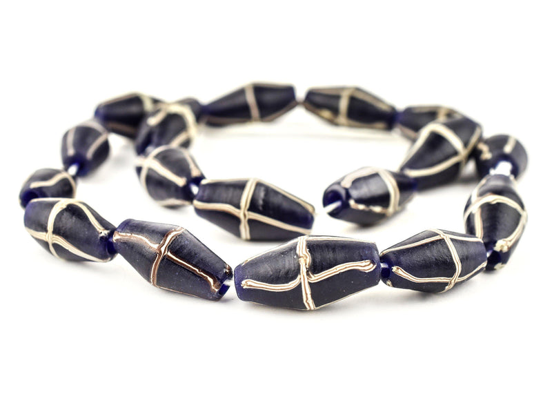 Dark Cobalt Blue Java French Cross Beads - The Bead Chest