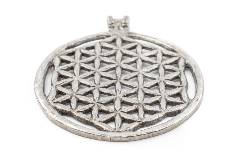 Silver Arabian Lattice Pendant (75x64mm) - The Bead Chest
