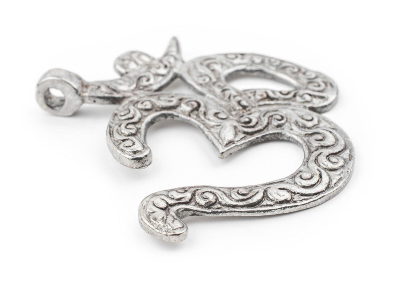Silver Om Pendant (65x65mm) - The Bead Chest