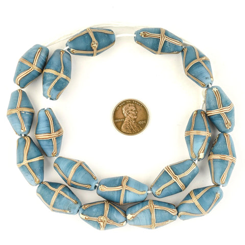 Turquoise Blue Java French Cross Beads - The Bead Chest