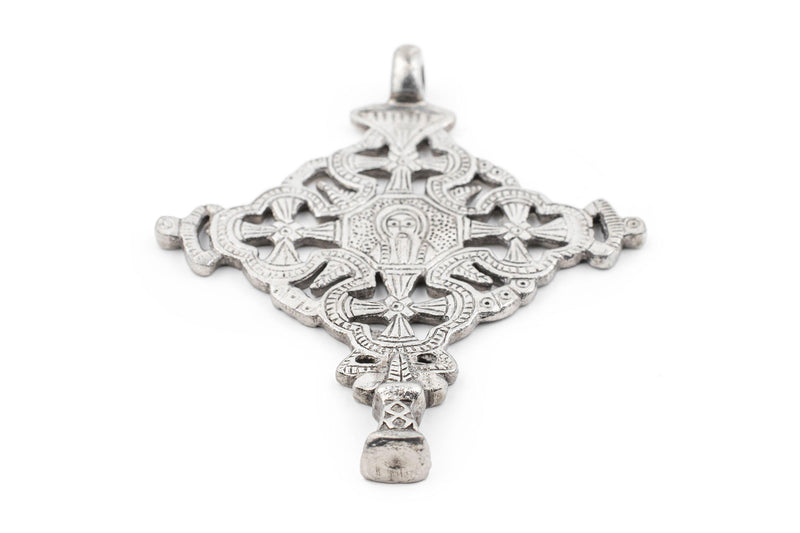 Gondar Ethiopian Silver Cross Pendant (100x80mm) - The Bead Chest