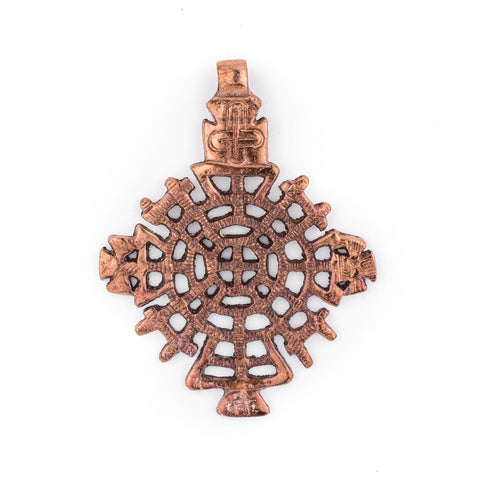 Awasa Ethiopian Copper Cross Pendant (65x50mm) - The Bead Chest