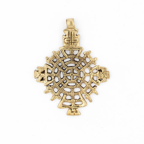 Awasa Ethiopian Brass Cross Pendant (65x50mm) - The Bead Chest