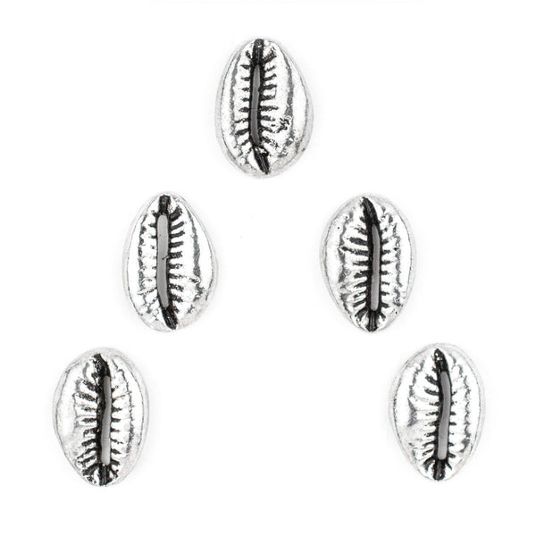 Antiqued Silver Cowrie Shell Beads (Set of 5) - The Bead Chest