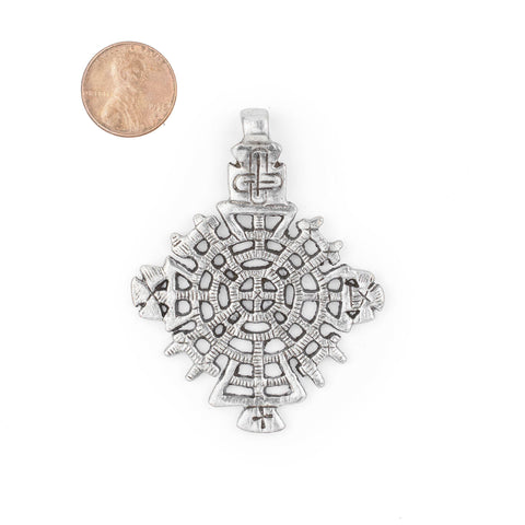 Image of Awasa Ethiopian Silver Cross Pendant (65x50mm) - The Bead Chest