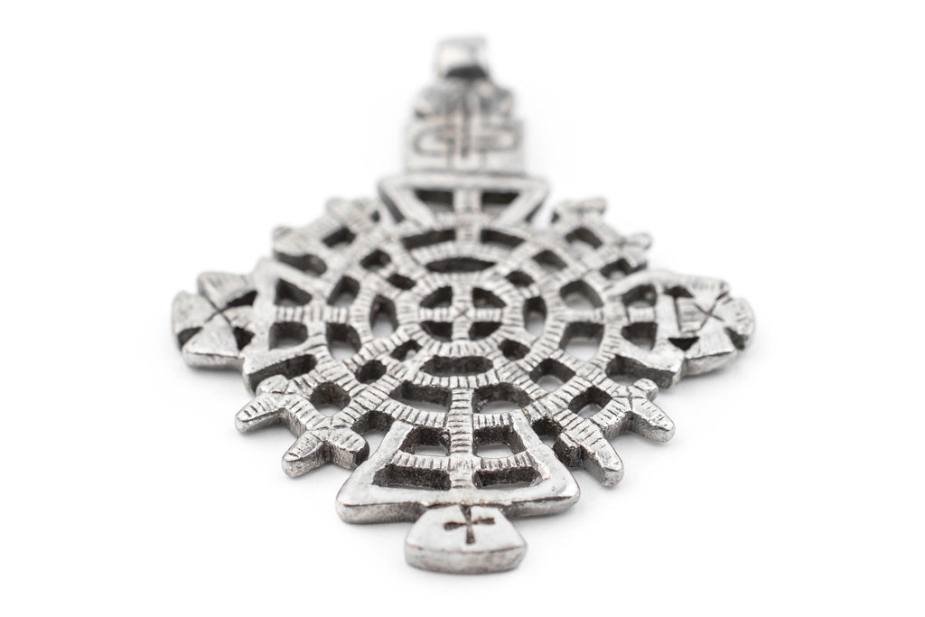 Awasa Ethiopian Silver Cross Pendant (65x50mm) - The Bead Chest