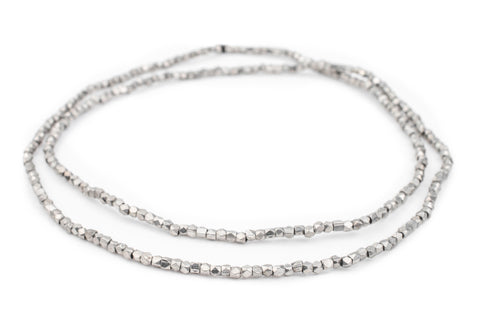 Dark Silver Faceted Tiny Diamond Cut Beads (2mm) - The Bead Chest