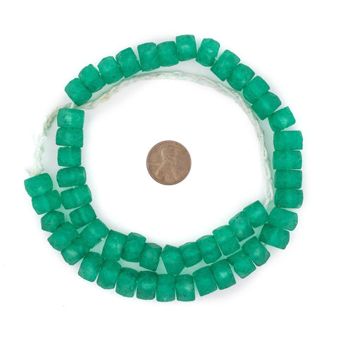 Fern Green Faceted Recycled Java Sea Glass Beads - The Bead Chest