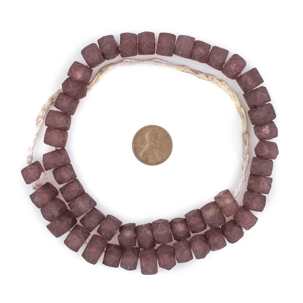 Plum Purple Faceted Recycled Java Sea Glass Beads
