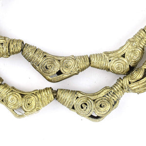 Cameroon-Style Elbow Brass Filigree Beads (28x12mm) - The Bead Chest