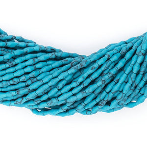 Dark Turquoise-Style Afghani Stone Rice Beads (4x2mm) - The Bead Chest
