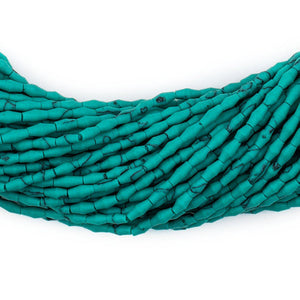 Malachite-Style Afghani Stone Rice Beads (4x2mm) - The Bead Chest