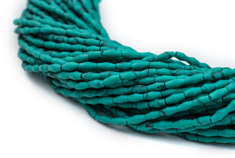 Image of Malachite-Style Afghani Stone Rice Beads (4x2mm) - The Bead Chest