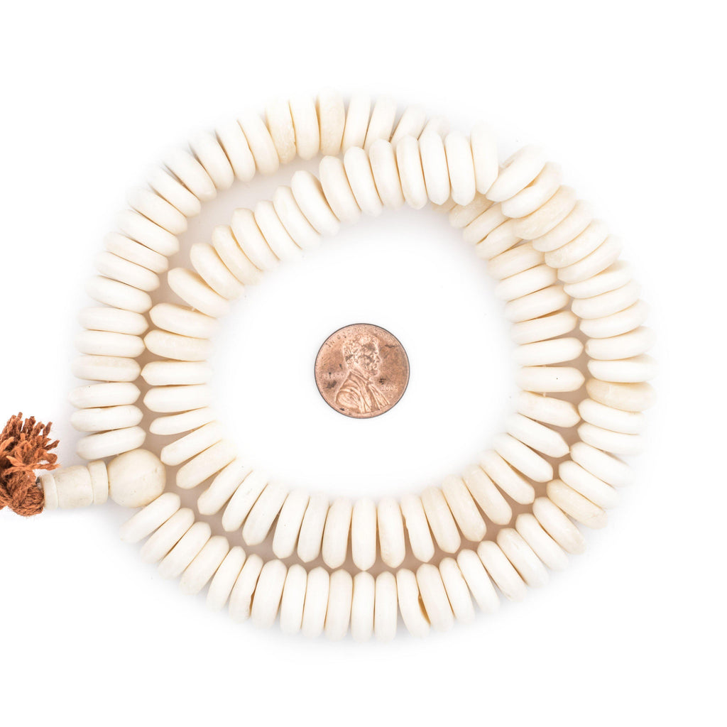 White Disk Bone Mala Beads (14mm) - The Bead Chest