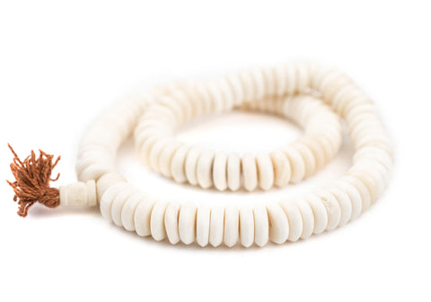 Image of White Disk Bone Mala Beads (14mm) - The Bead Chest