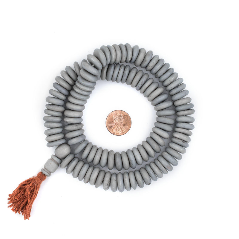 Matte Grey Disk Bone Mala Beads (14mm) - The Bead Chest