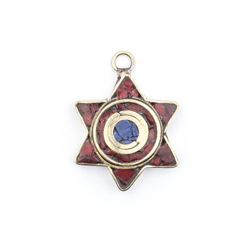 Red & Blue Nepal Star of David Pendant - The Bead Chest