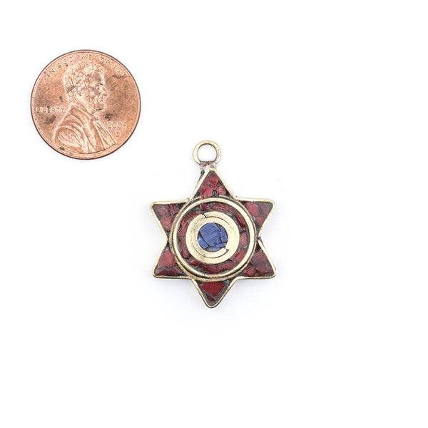 Red & Blue Nepal Star of David Pendant