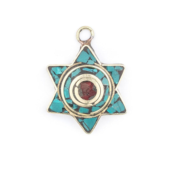 Turquoise & Coral Nepal Star of David Pendant - The Bead Chest