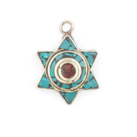 Image of Turquoise & Coral Nepal Star of David Pendant - The Bead Chest