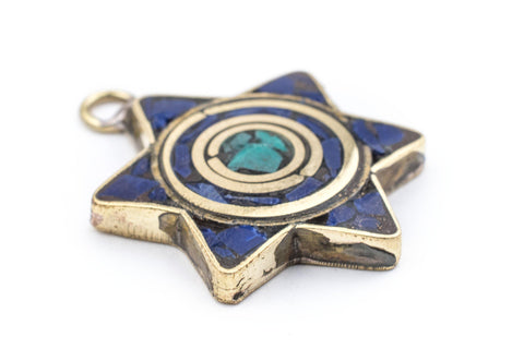 Blue & Turquoise Nepal Star of David Pendant - The Bead Chest