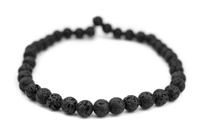 Black Volcanic Lava Beads (10mm) (Large Hole) - The Bead Chest