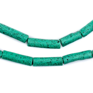Amazonite Moroccan Pottery Beads (Cylinder) - The Bead Chest